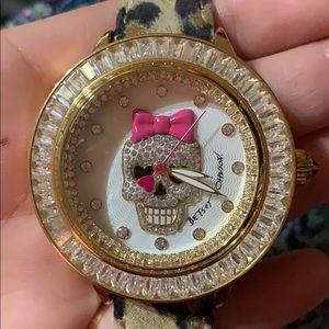 NWOT Betsey Johnson super Bling sugar skull watch